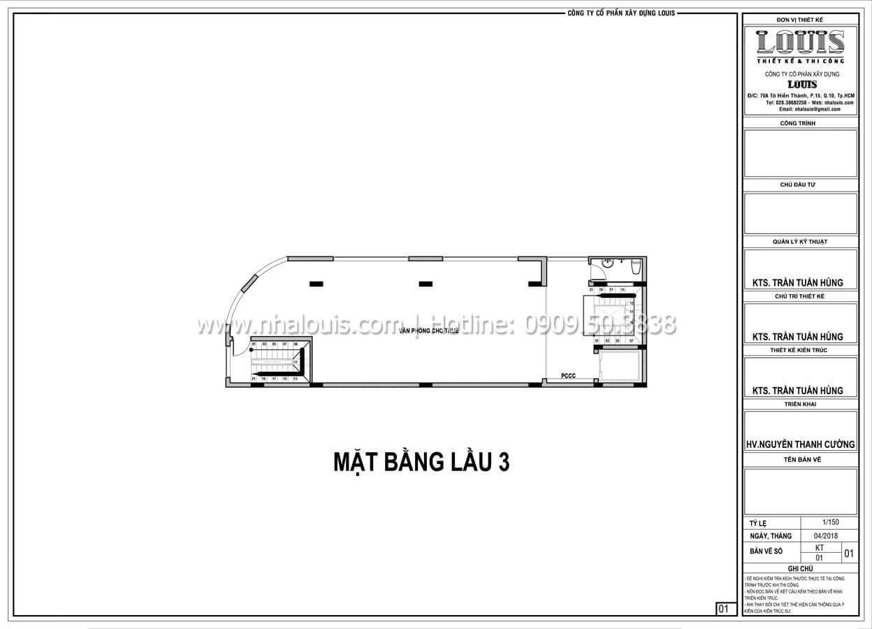 Mặt bằng tầng 3 Thiết kế văn phòng cho thuê đẹp lung linh tại Đà Nẵng - 07