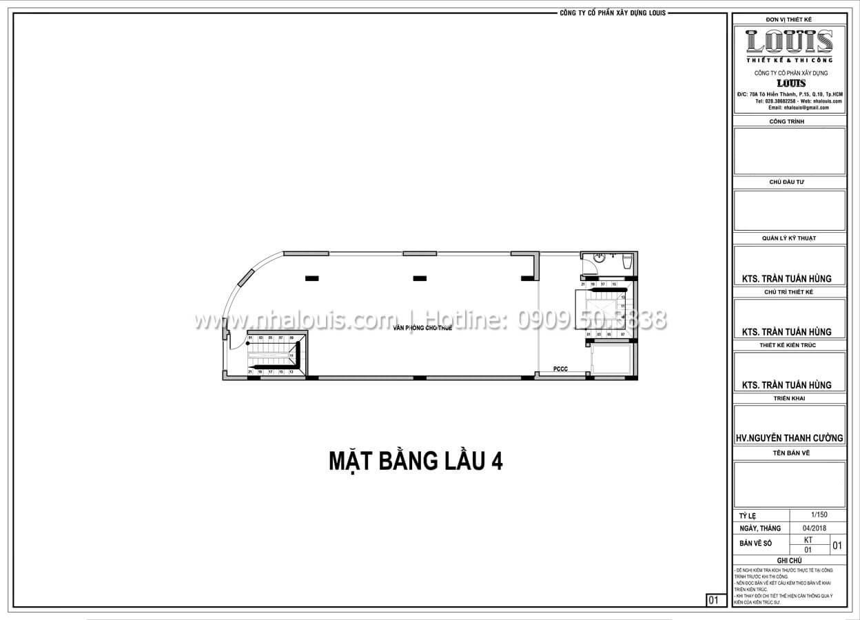 Mặt bằng tầng 4 Thiết kế văn phòng cho thuê đẹp lung linh tại Đà Nẵng - 08