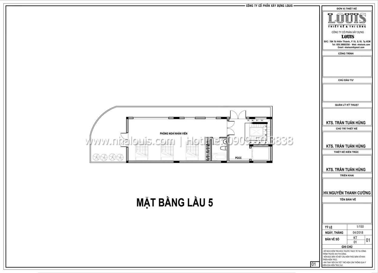 Mặt bằng tầng 5 Thiết kế văn phòng cho thuê đẹp lung linh tại Đà Nẵng - 09