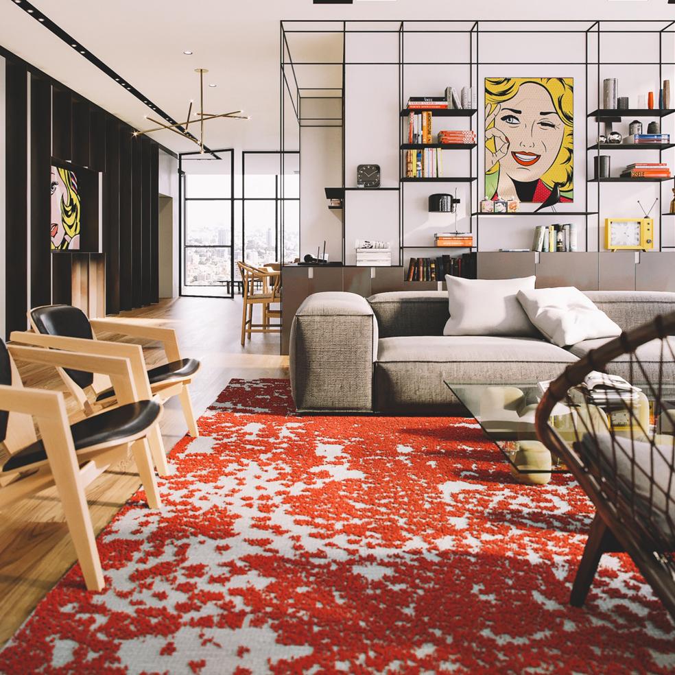 Lên màu phong cách Pop Art trong nội thất phòng khách hiện đại