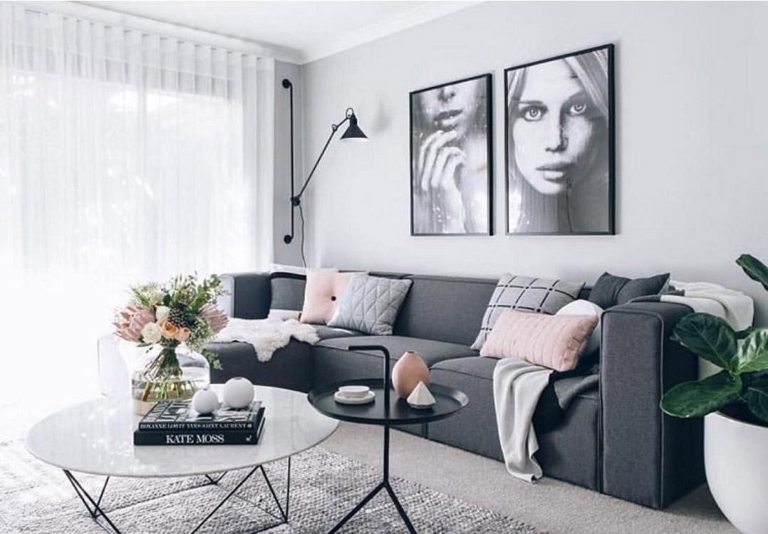 Nội thất phòng khách màu xám đẹp miễn chê