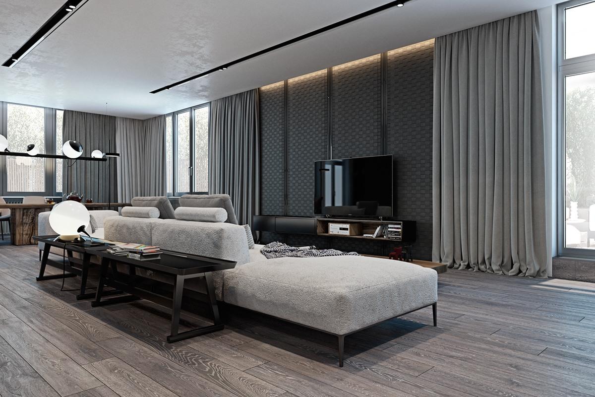 Thiết kế nội thất phòng khách màu xám đẹp miễn chê