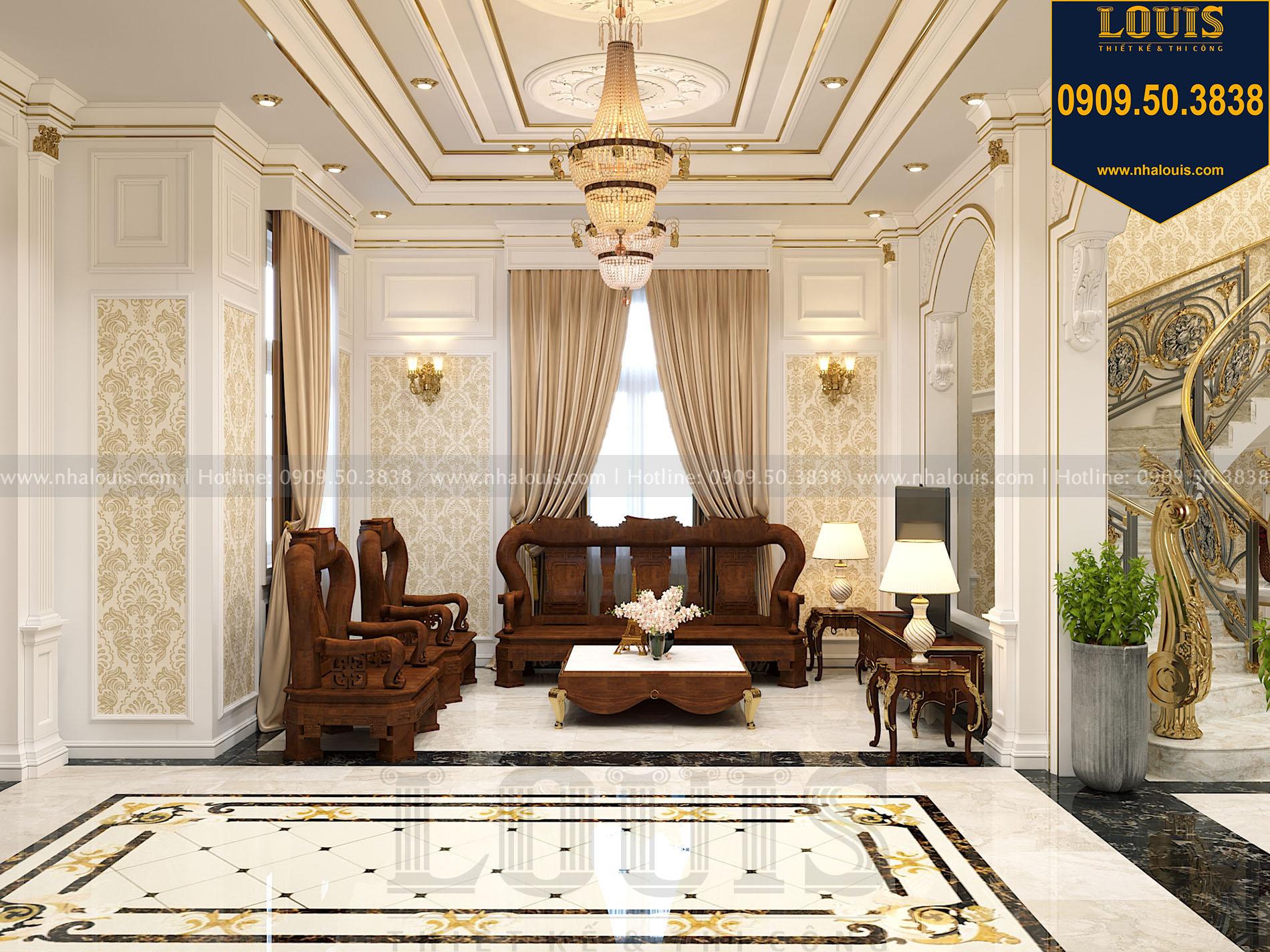 Phòng khách biệt thự 2 tầng mặt tiền 9m