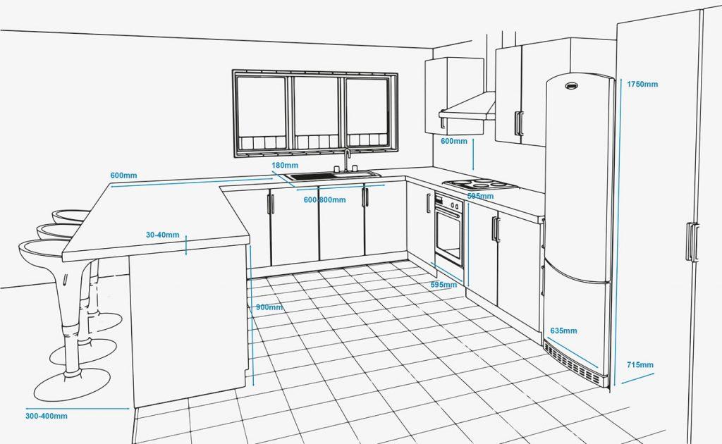 Chọn diện tích bếp tiêu chuẩn và những điều cần lưu ý