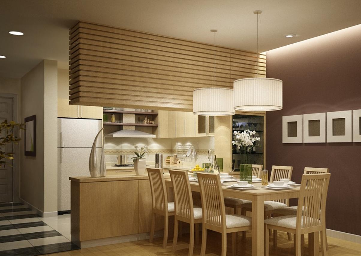Tone màu nâu chủ đạo kết hợp màu gỗ tự nhiên mang đến cảm giác gần gũi, song vô cùng sang trọng cho không gian phòng ăn