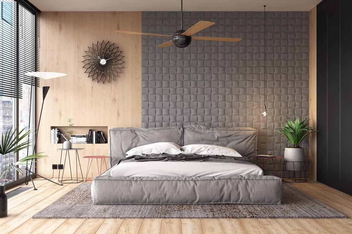 Phòng ngủ màu ghi xám với chất liệu gỗ