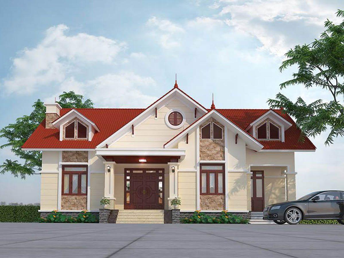Với thiết kế hình khối vuông vắn kết hợp mái thái độc đáo, mang hơi hướng của những ngôi nhà truyền thống