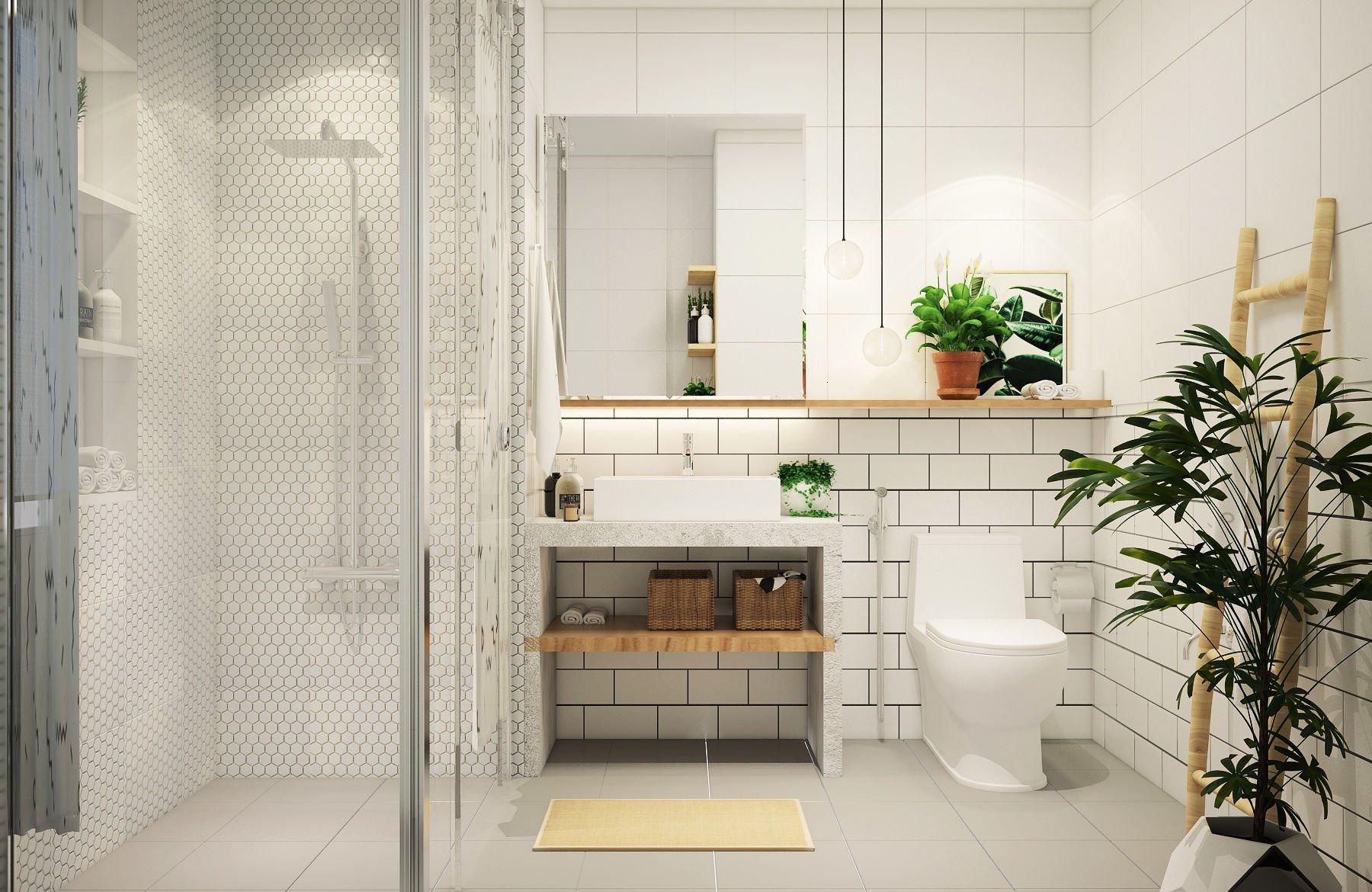 Gia chủ nên bỏ qua kính mờ đắt đỏ hoặc rèm vải dễ ẩm mốc, gây phiền toái bằng việc tận dụng hốc tường trong công trình kiến trúc
