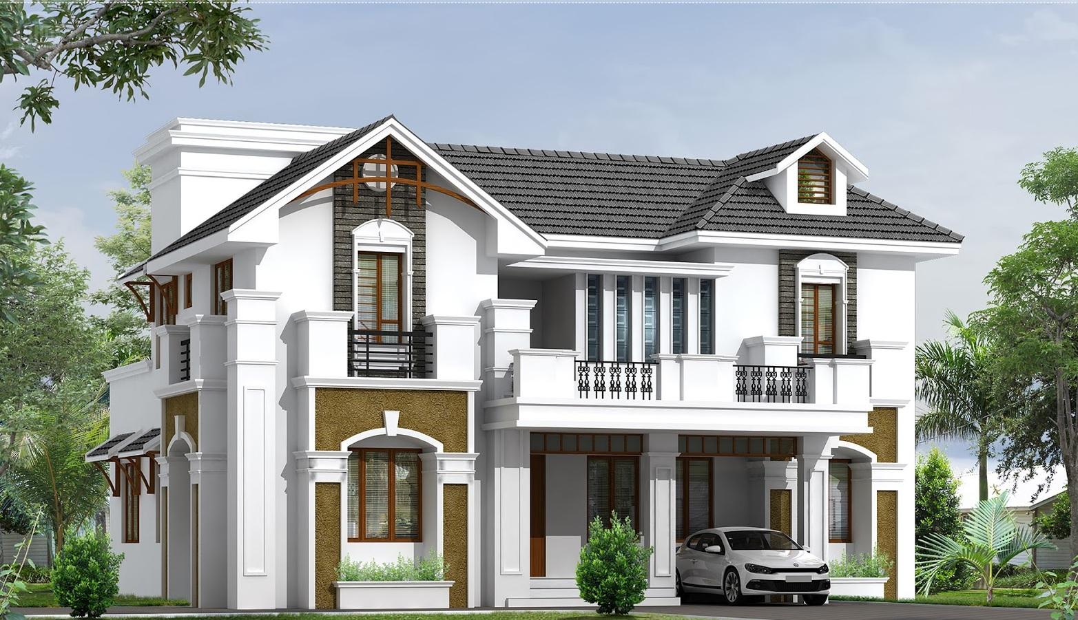Gia chủ có thể sử dụng gam màu nhã nhặn mang hơi hướng biệt thự phố cổ ở Hà Nội cho mẫu biệt thự mini 2 tầng