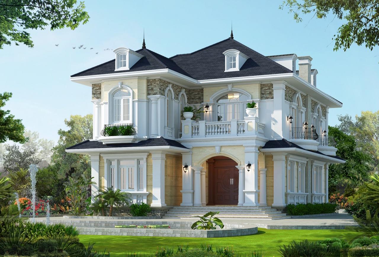 Khoảng sân rộng ở phía trước ngôi biệt thự được thiết kế linh hoạt, tạo nên không gian thư giãn đầy màu sắc