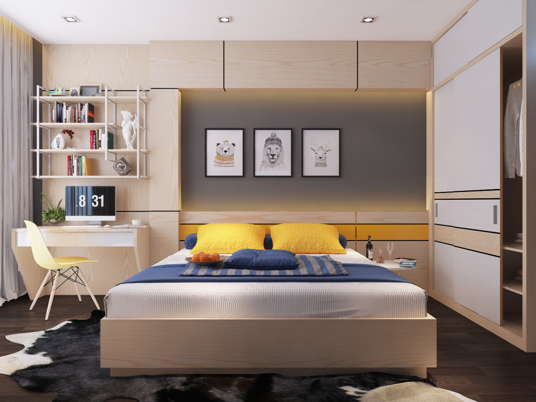 Gia chủ cũng có thể tạo điểm nhấn lý tưởng cho phòng ngủ bằng cách bố trí chiếc tủ được trưng bày những quyển sách hay
