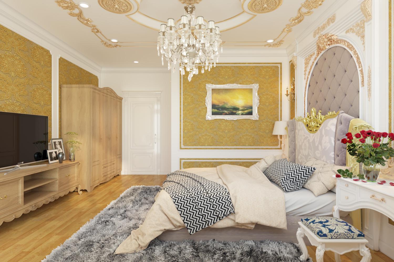 Với chiếc giường được đặt ở vị trí trung tâm đồng thời sử dụng gam màu nhẹ nhàng sẽ tạo không gian lãng mạn cho phòng ngủ