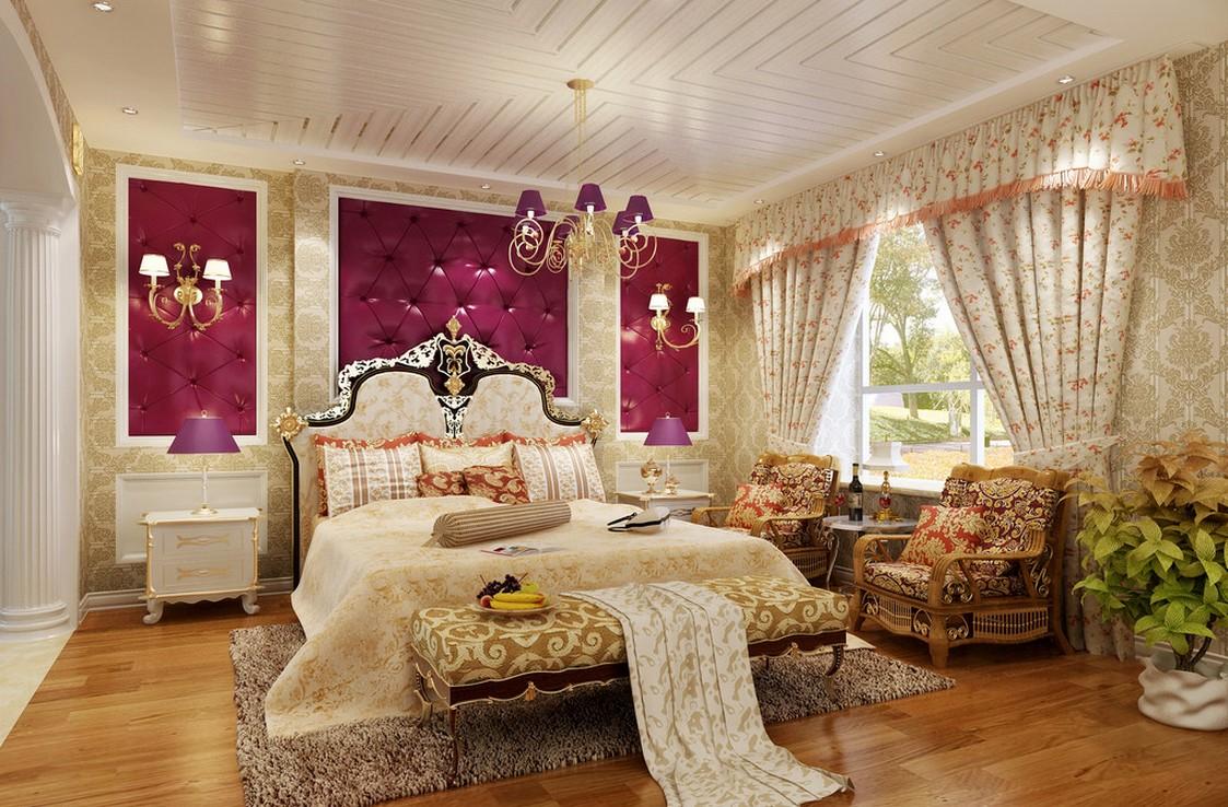 Chiếc giường lớn và êm ái kết hợp tông màu nhã nhặn cùng vật dụng nội thất sở hữu đường cong uyển chuyển sẽ tạo nên sự lãng mạn cho phòng ngủ