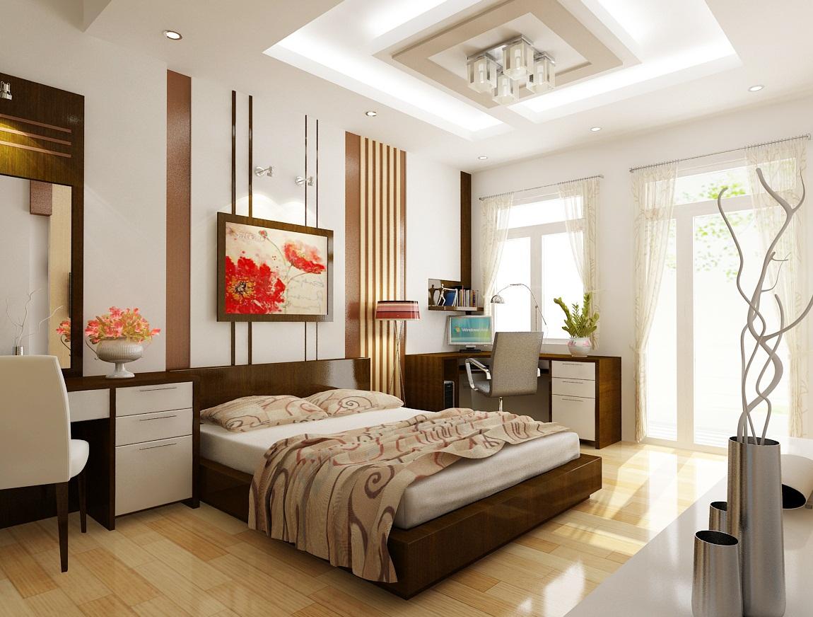 Một vài bức tranh nghệ thuật được treo trong phòng ngủ cũng là cách trang trí biệt thự có phòng ngủ đơn giản