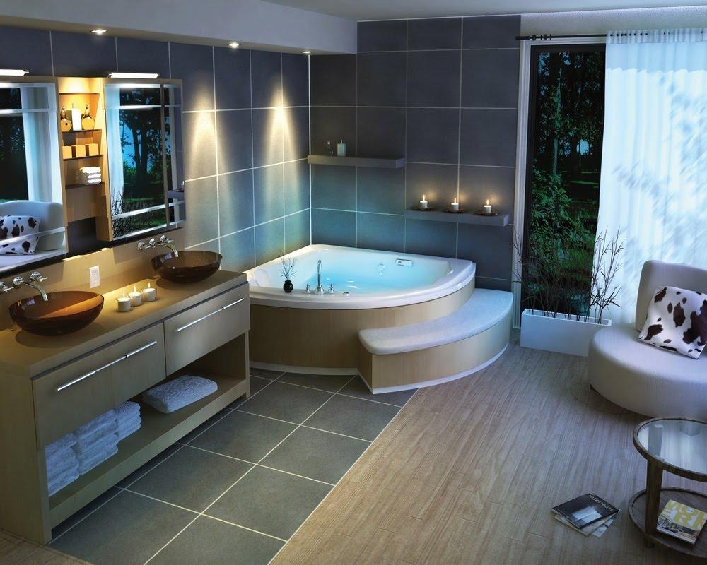 Mẫu phòng tắm biệt thự đẹp luôn được thiết kế bồn tắm, tủ đồ, tường gạch khác nhau