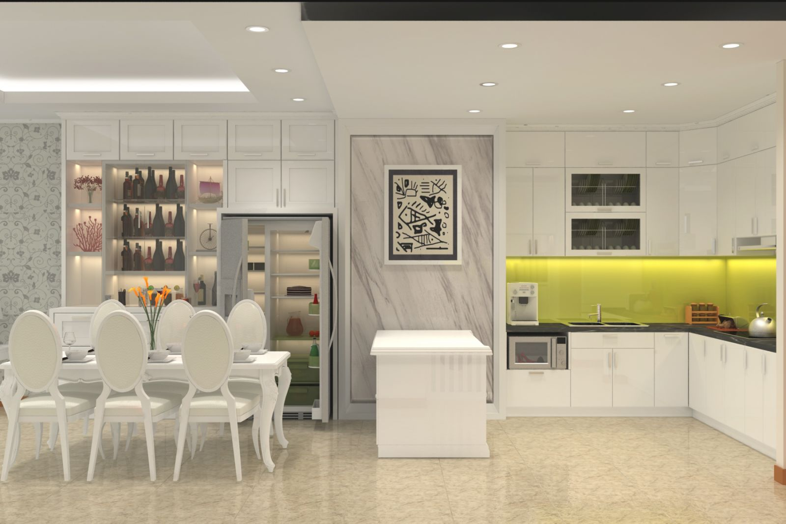 Với nền trắng chủ đạo, gia chủ có thể tạo điểm nhấn riêng cho không gian nhà bếp bằng những đường nét nhỏ