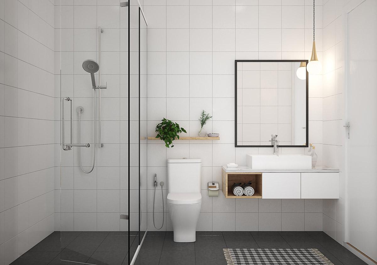 Sự xuất hiện của chiếc gương lớn sẽ giúp phòng tắm trở nên đẹp hơn