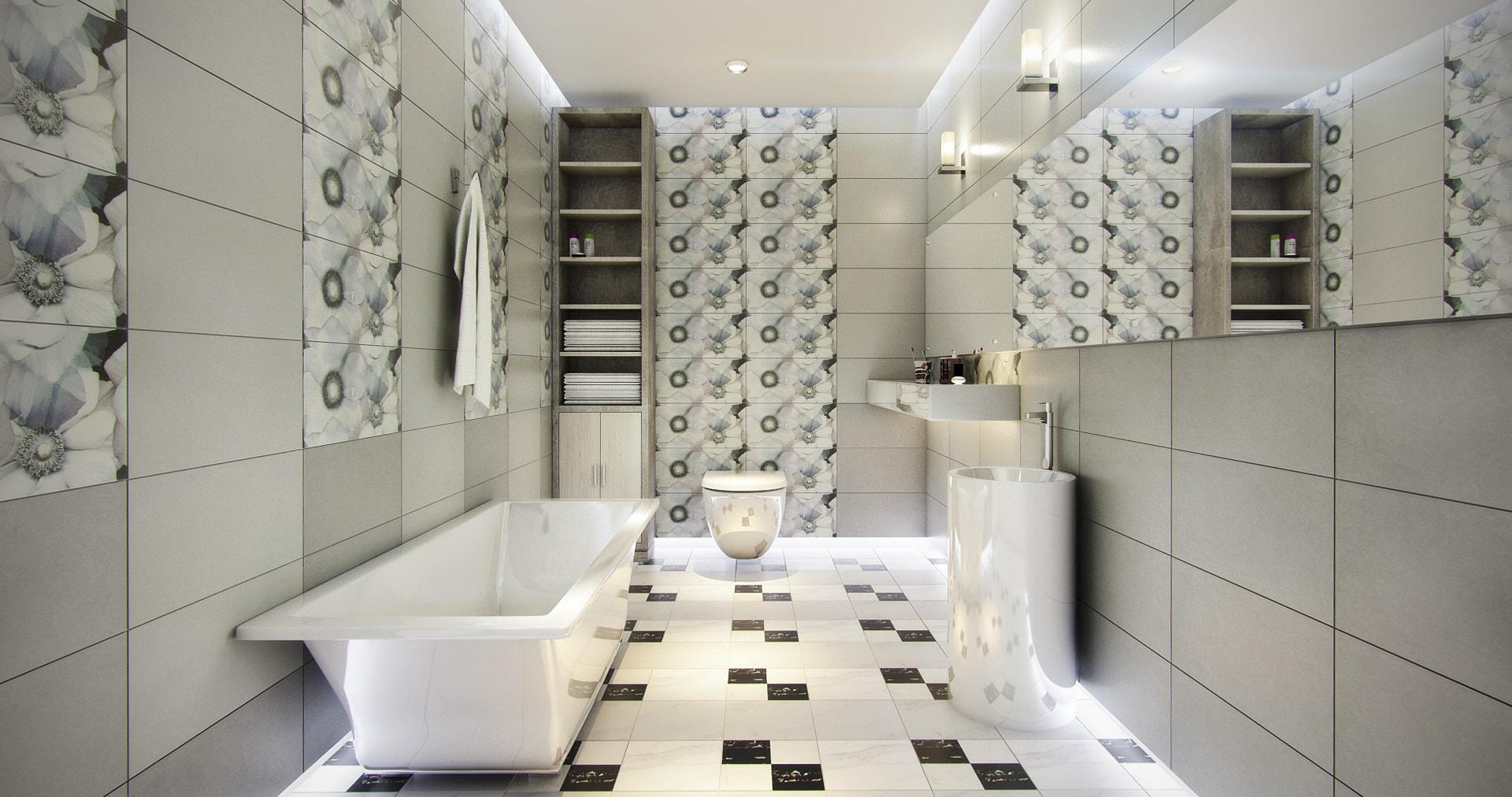 Phòng tắm sẽ thật đặc biệt nếu sàn hoặc tường được trang trí họa tiết độc đáo, khác biệt