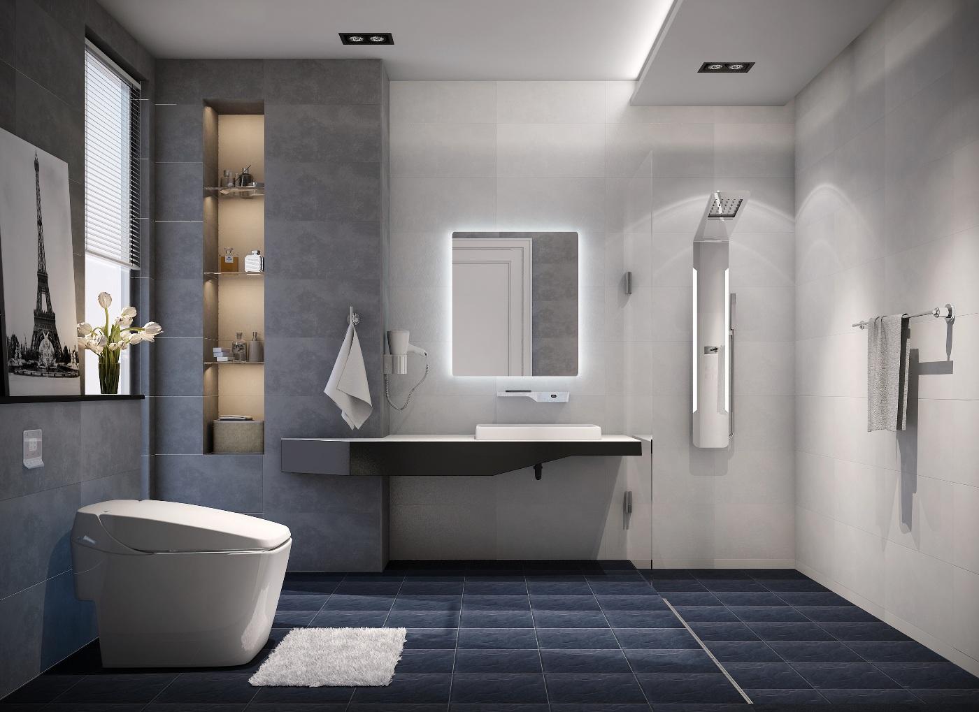 """Đối với những phòng tắm """"khiêm tốn"""" về diện tích, tone màu trắng sáng sẽ là lựa chọn đúng đắn"""