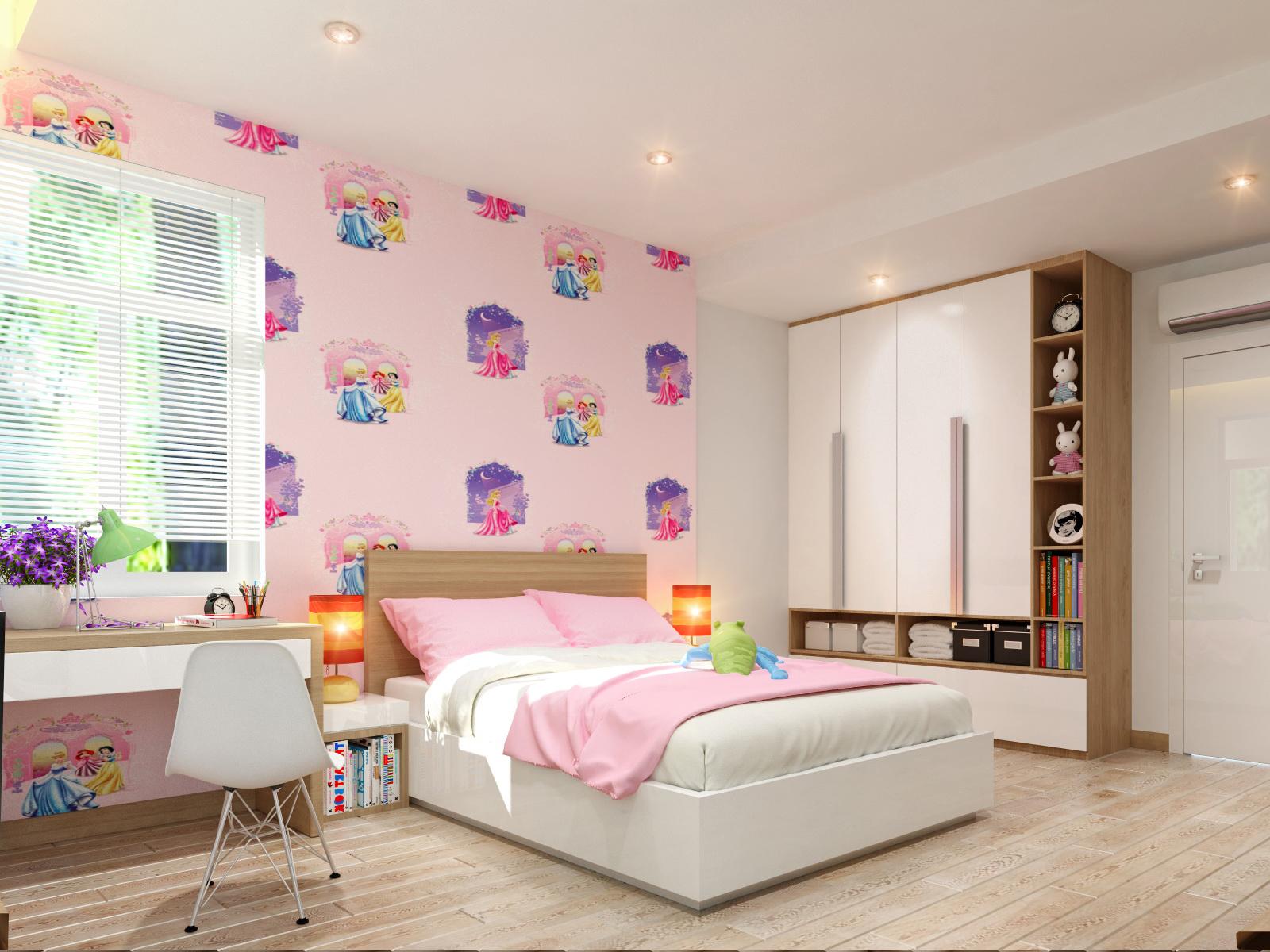 Nếu con gái bạn yêu thích đa sắc màu, bạn có thể trang trí mẫu phòng ngủ đẹp có nhiều màu sắc như thế