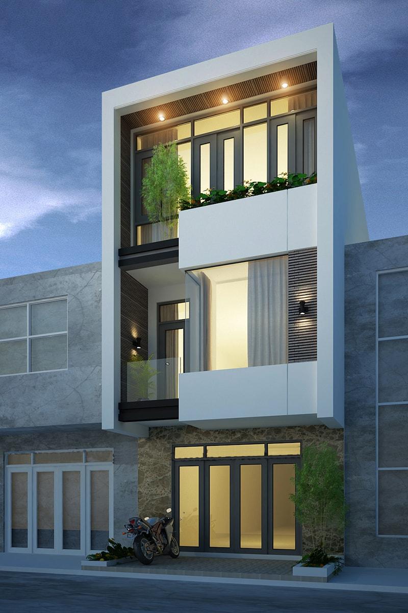 Sự pha trộn màu sắc tinh tế cũng là một trong những điểm cuốn hút của thiết kế nhà 3 tầng này