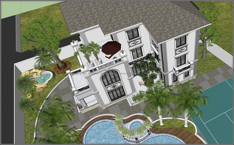 Thiết kế biệt thự hồ bơi 3 tầng 2 mặt tiền đẳng cấp tại Củ Chi - 8